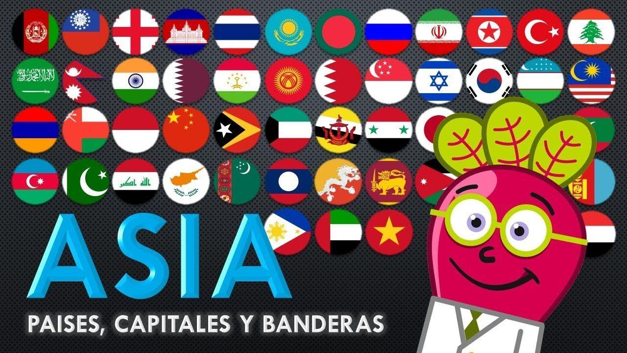 Asia Banderas Paises Capitales Del Mundo Mapas Para Ninos