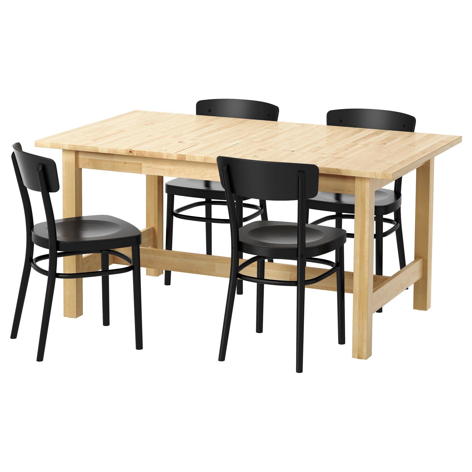 Norden Idolf Tisch Und 4 Stuhle Birke Schwarz Ikea Norden