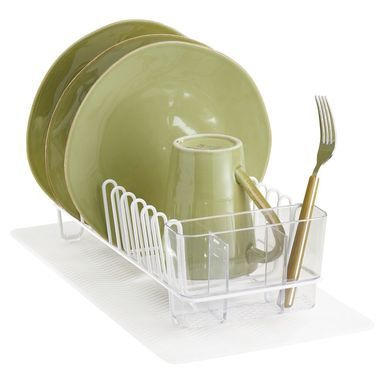 mDesign Compact Kitchen Sink Dish Rack and Silicone Drying Mat Combo, Bronze/Amber/Brown, Set of 2 #dishracks
