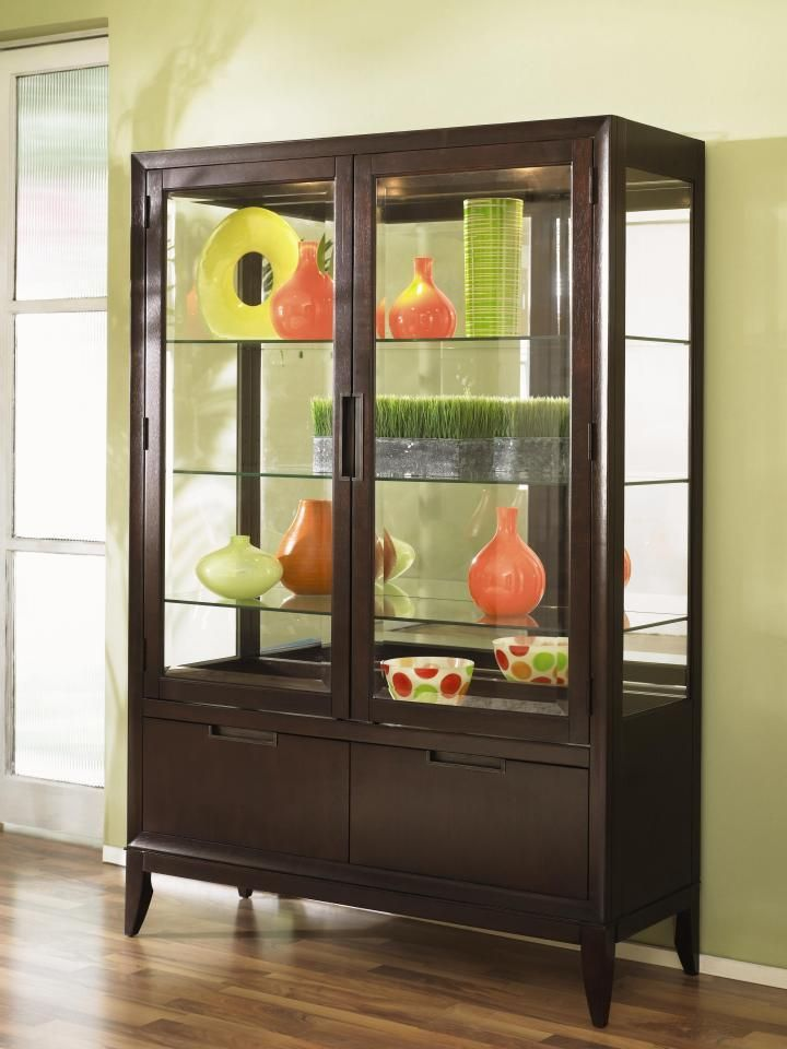 Dark Wood Finish Modern Dining Room W Optional Items: Curio Cabinet- Curio Cabinet Is Defined As A Glass Cabinet