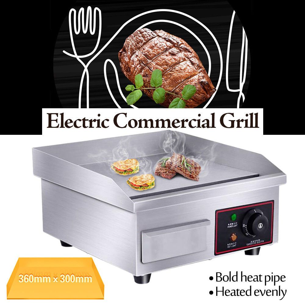 14 Electric Countertop Griddle Flat Top Commercial Restaurant Grill Bbq 1500w Catering Restaurant Kitchen Appliances