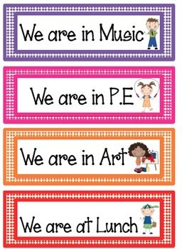 These labels can be used to create a poster that shows others where your class is when you leave the classroom. Free!