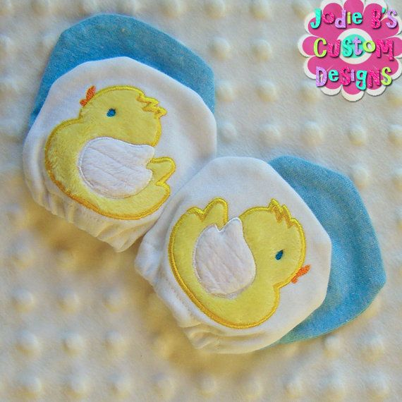 Appliqued Baby Duck  2 Pack Infant No Scratch Mittens  by jodiebs, $14.95