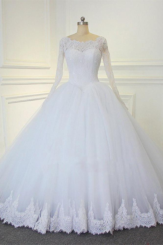 White Ball Gown Long Sleeves Bridal Dresses With Lace Gorgeous Wedding Dresses N1309 Long Sleeve Bridal Dresses Ball Gowns Wedding Perfect Wedding Dress