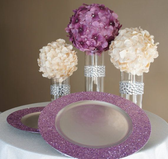 Amethyst purple glitter charger plate this is just a
