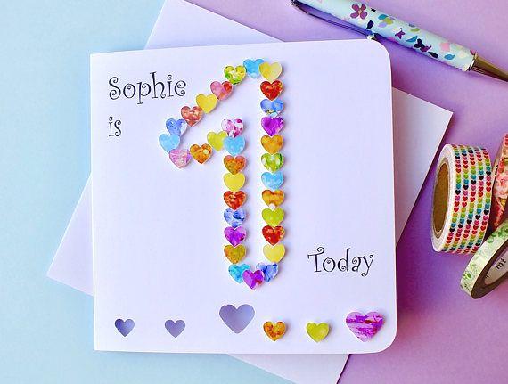 1st Birthday Card Personalised And Handmade First Birthday Etsy First Birthday Cards 1st Birthday Cards Girl Birthday Cards