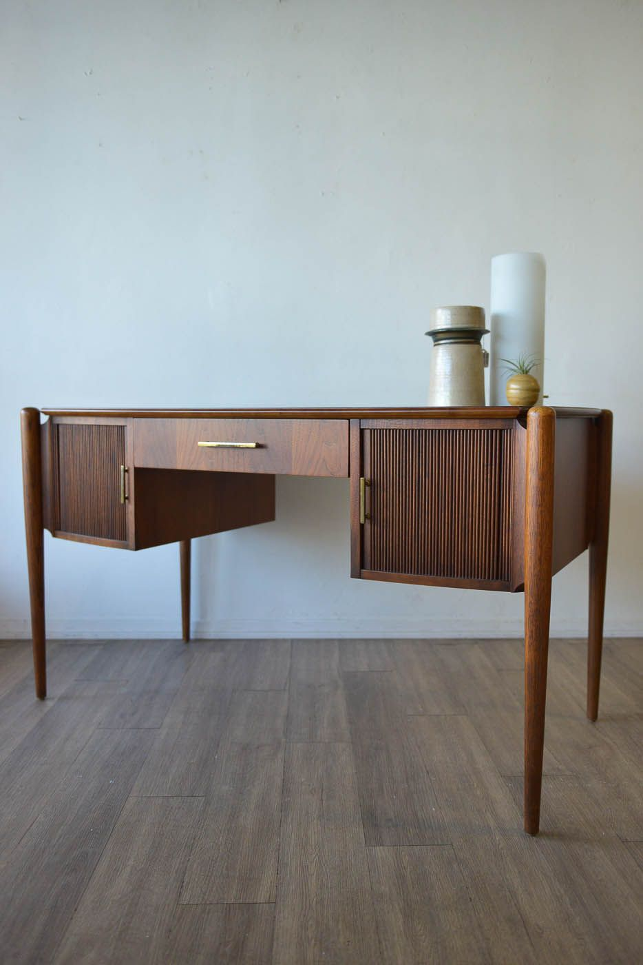 Walnut Tambour Door Desk By Sligh Lowry Showroom Perfect Condition Fully  Restored Could Also Be Used