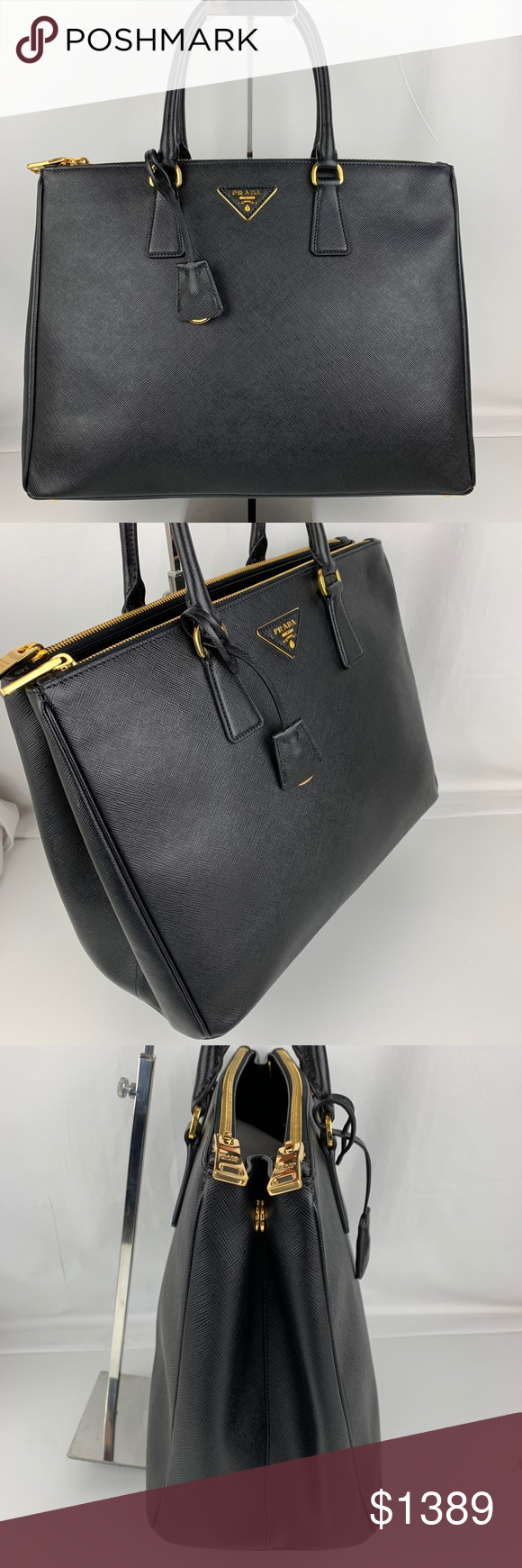 f57a1de6099b New Prada Italian Galleria Large Double Zip Tote Authentic Prada style  1BA786. New with Tags