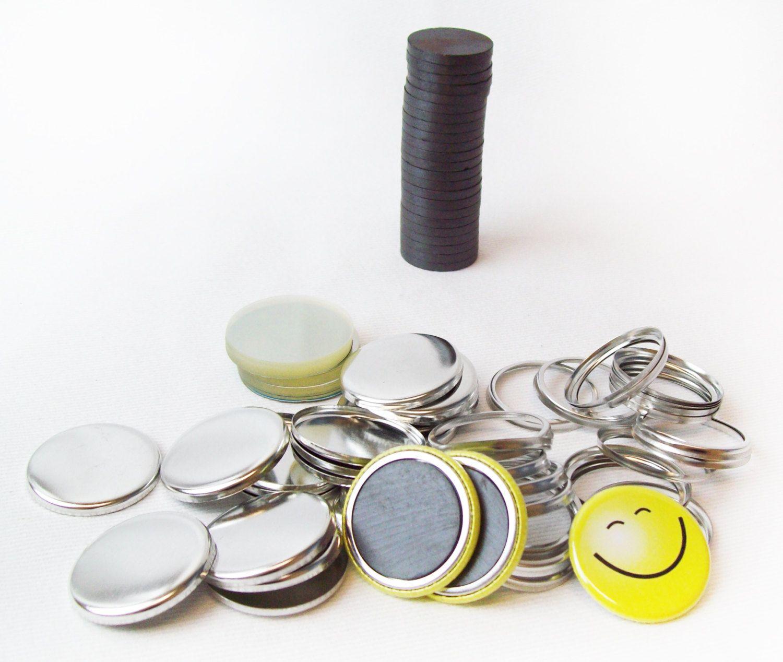 100 Tecre 1 25 Inch Collet Back Magnet Button Parts W 1 Quot Ceramic Magnets For 1 1 4 Quot Magnet Buttons Ceramics Metal Buttons Button Maker