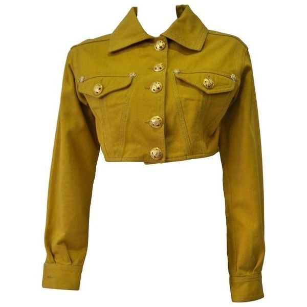 Preowned Versace Jeans Couture Gold Haute Denim Bolero Jacket ($480) ❤ liked on Polyvore featuring outerwear, jackets, brown, gold bolero jacket, gold bolero, versace jeans couture, denim bolero jacket and white bolero