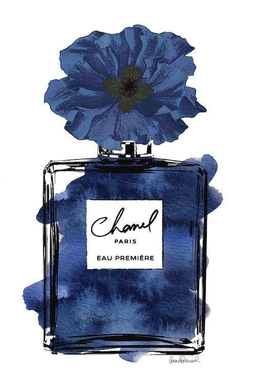 Perfume With Black Blue Flower Canvas Art By Amanda Greenwood