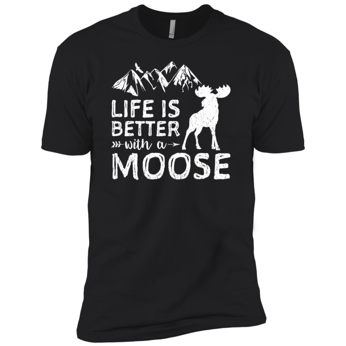 Life is better with a moose hiking men short sleeve t