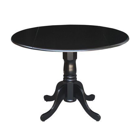 International Concepts 42 Inch Round Dual Drop Leaf Pedestal Table