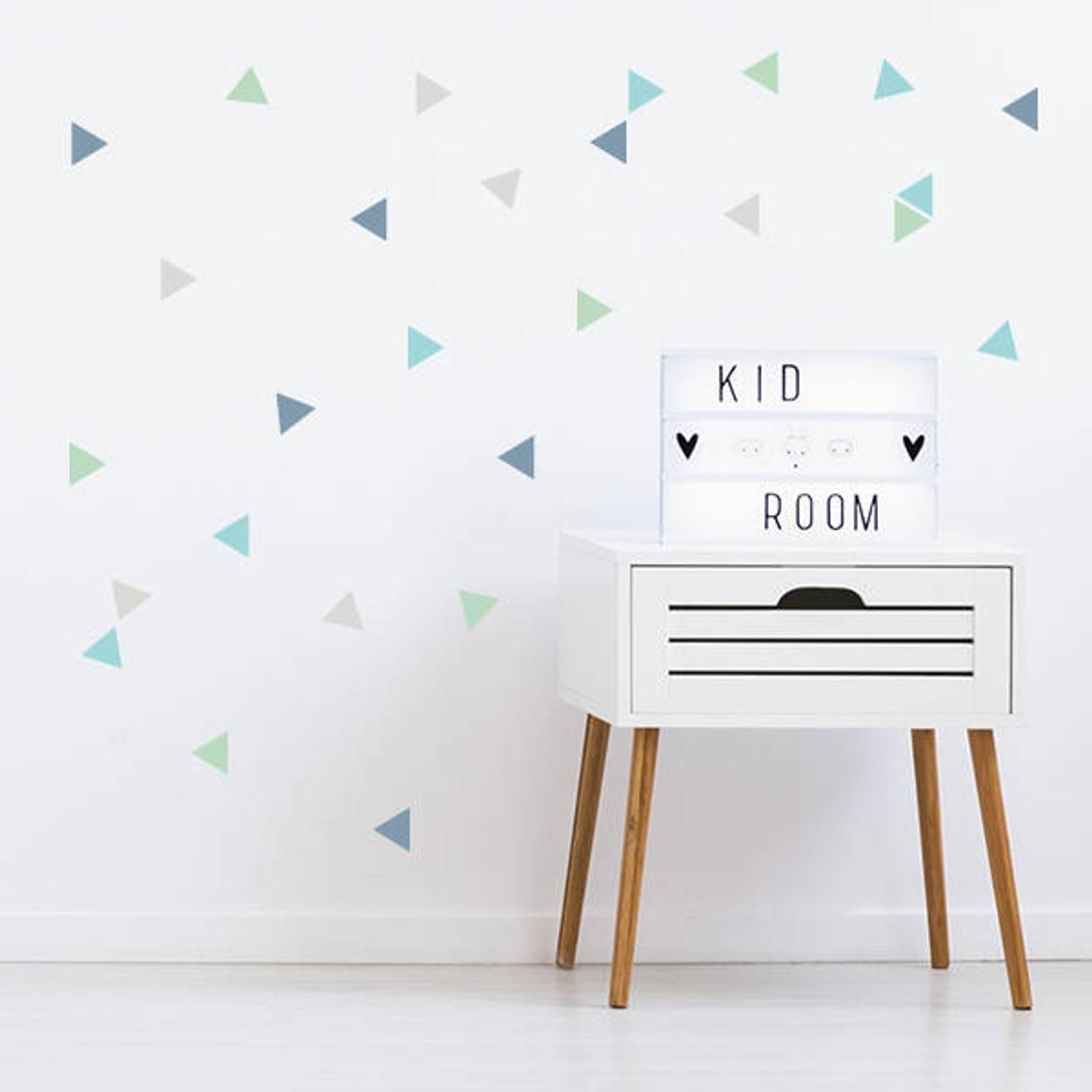 50 Nordic Triangle Combination Mint Baby Wall Decal Stickers