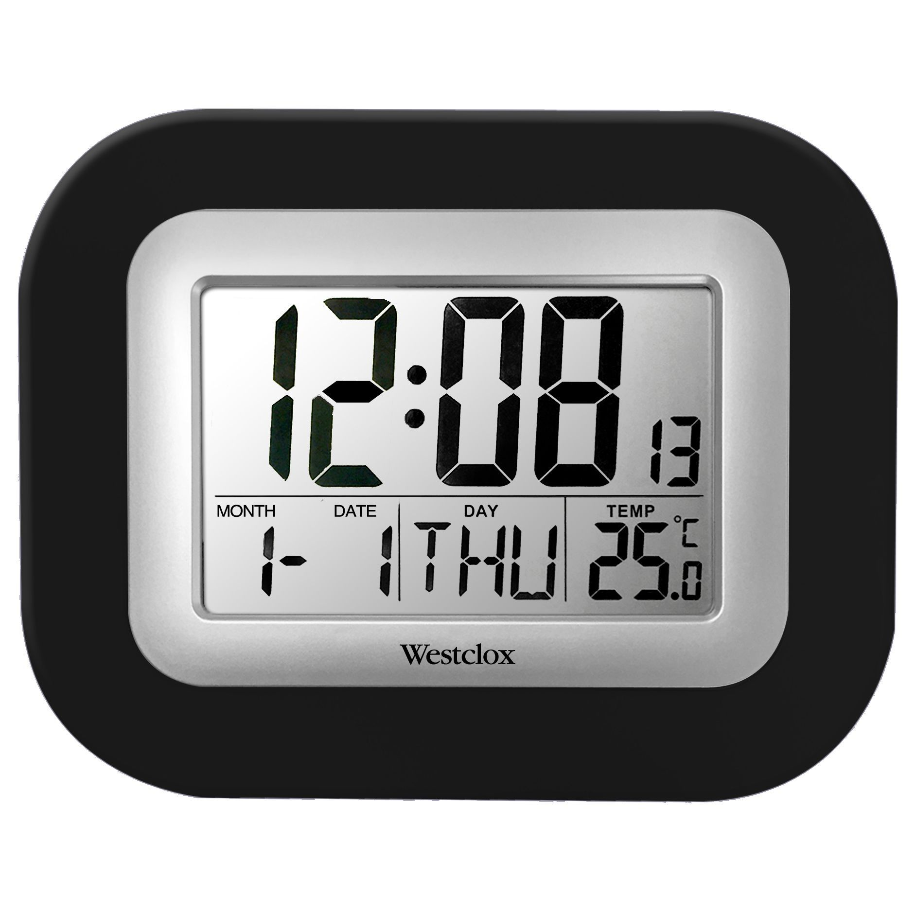 Westclox Black Plastic Lcd Digital Wall Clock With Temperature