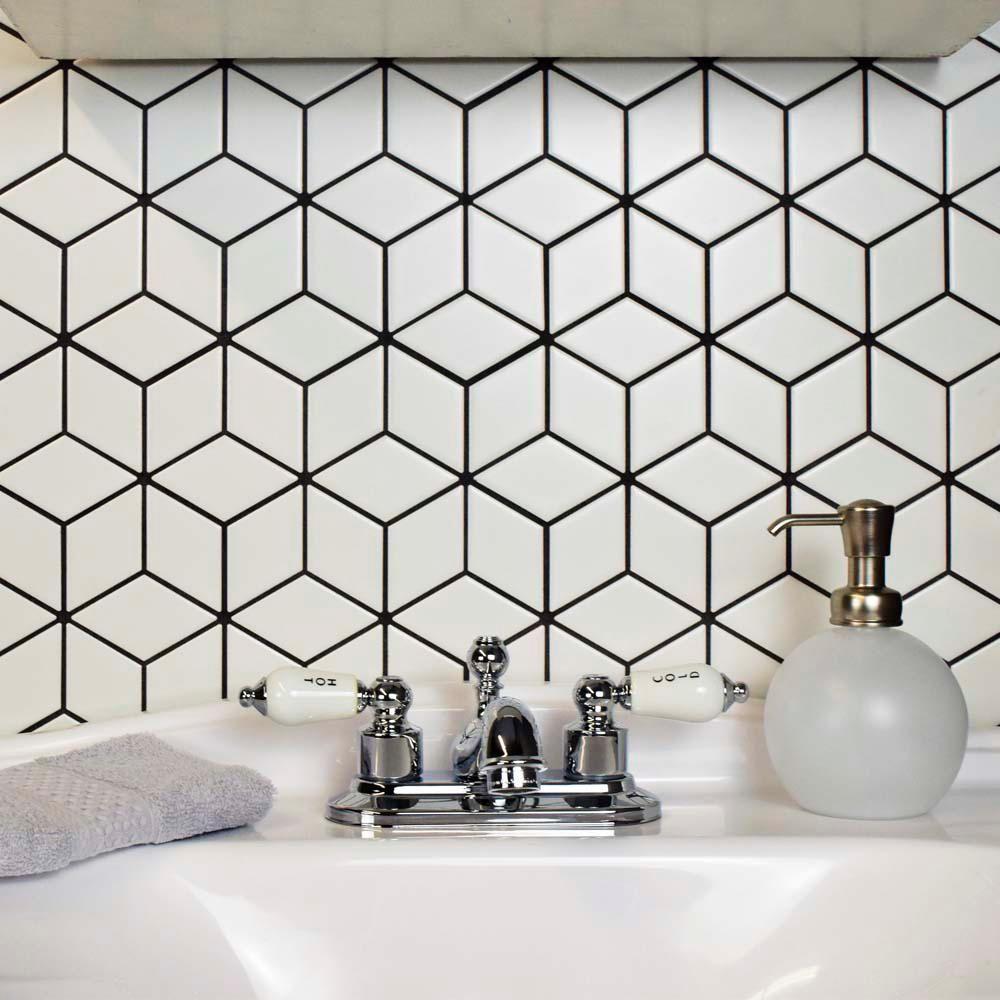 - Merola Tile Metro Rhombus Matte White 10-1/2 In. X 12-1/8 In. X 5