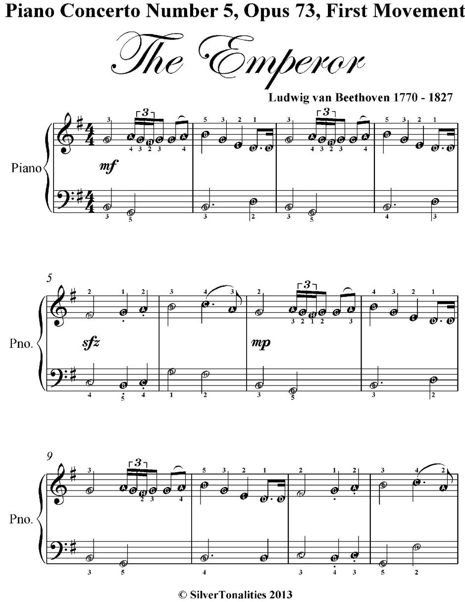 Piano Concerto Number 5 Opus 73 First Movement The Emperor Easy