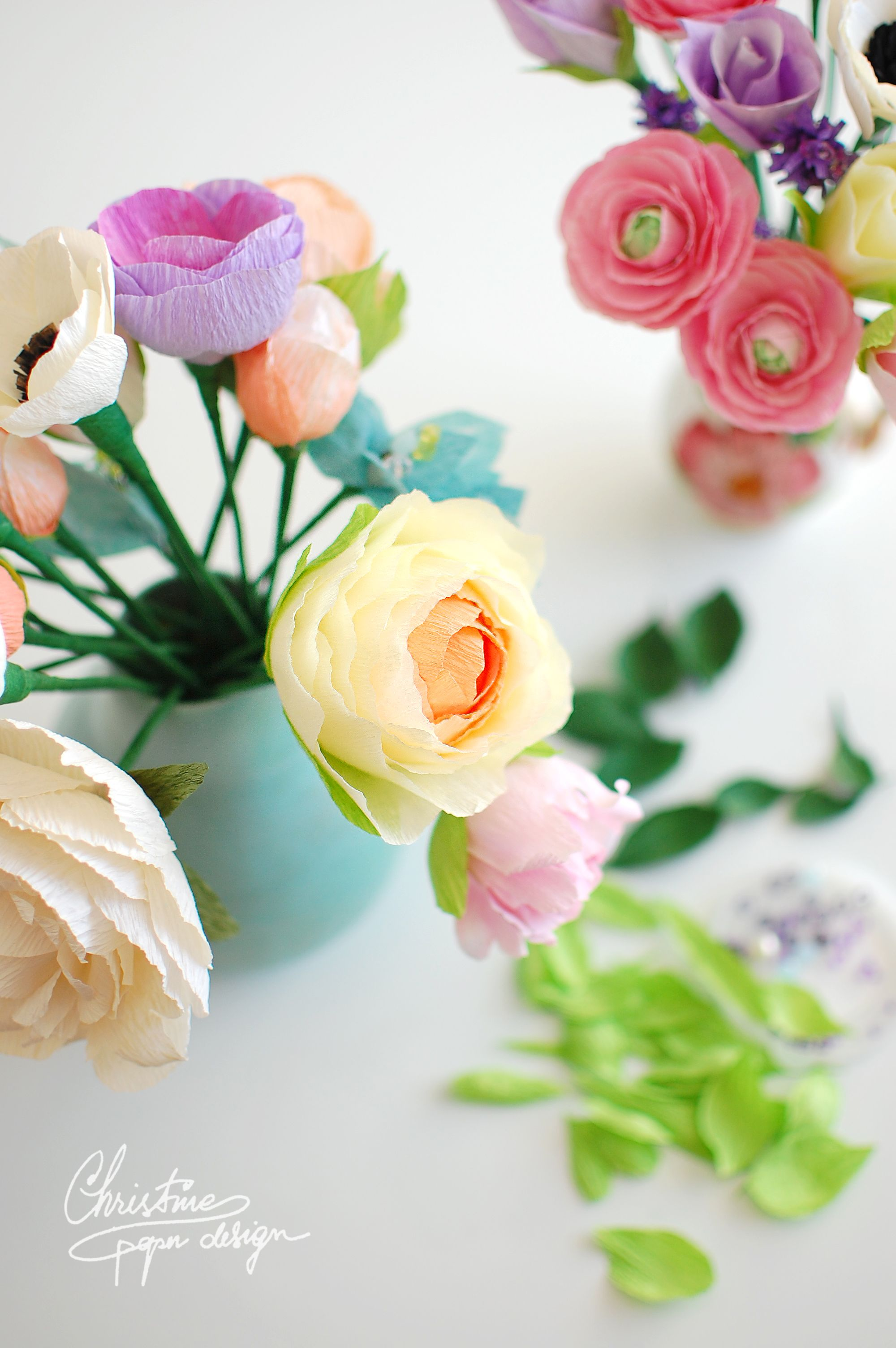 Diy Paper Flowers In Pastel Colours By Christine Paper Design