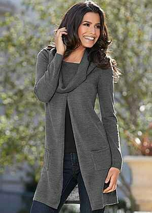 Open Front Cowl Sweater Venus -  http://m.venus.com/products.aspx?BRANCH=7~69~&PAGE=4