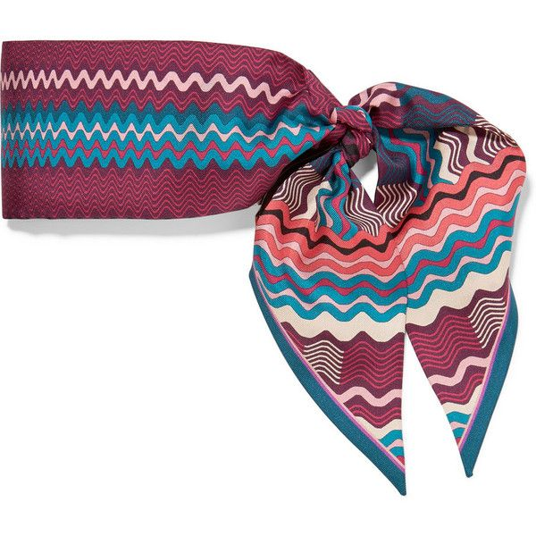 Missoni Printed silk-twill scarf (38 BHD) ❤ liked on Polyvore featuring  accessories 096db4e55