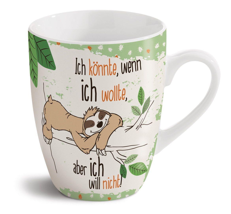Spruch Kaffee Becher Tasse Porzellan Faultier Faultier Tiere Schreibtischunterlage