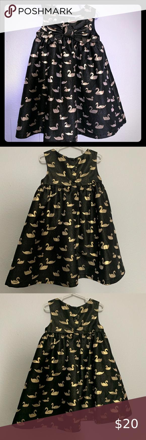 Cat Jack Girls Formal Swan Dress Black Gold Metallic Gold Dress Swan Dress Dress Bow Front [ 1740 x 580 Pixel ]