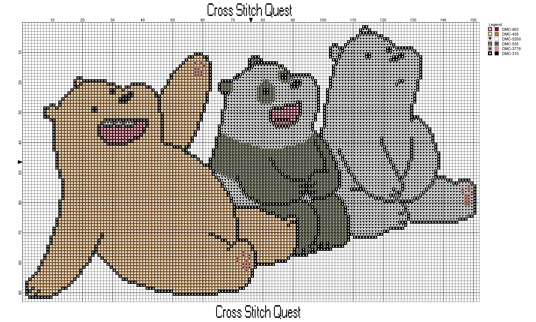 We Bare Bears Cross Stitch Pattern Sue Cross Stitch