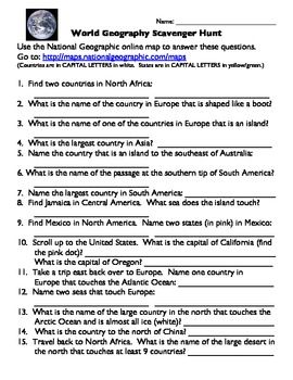 World geography scavenger hunt answer key textbook geography this 15 question world geography scavenger hunt can be used as an introduction gumiabroncs Image collections