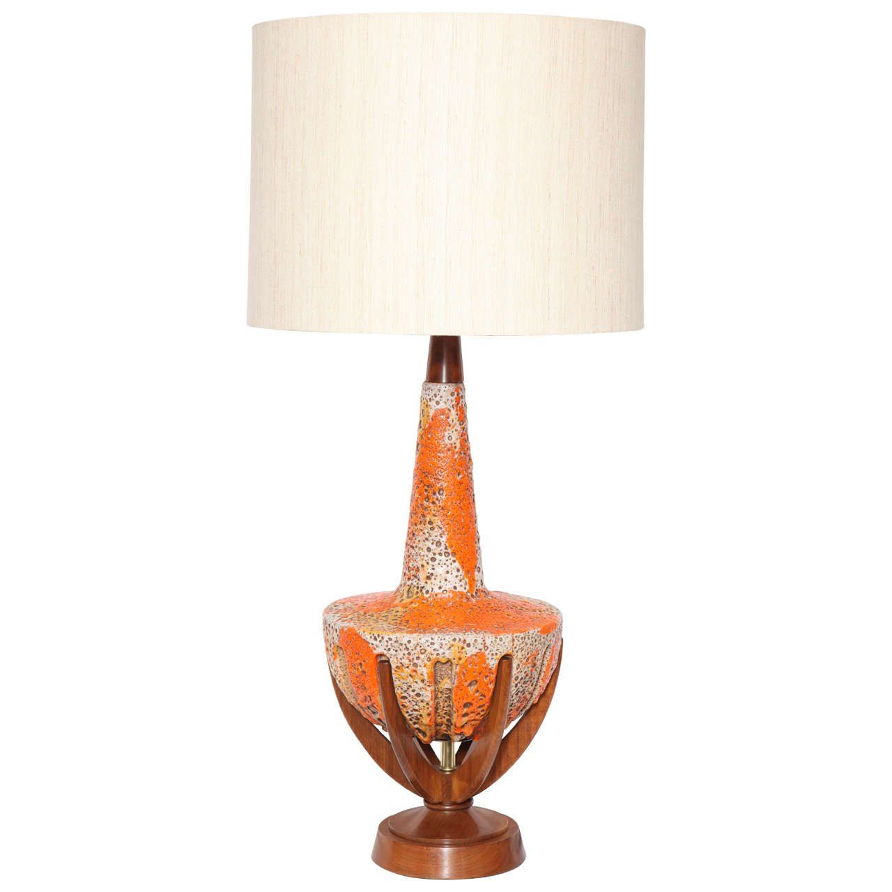 Antique wood table lamps - 1950s Modernist Ceramic And Wood Table Lamp