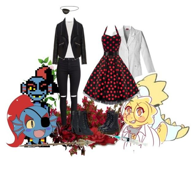 """""""Undyne & Alphys - Undertale"""" by little-miss-otp ❤ liked on Polyvore featuring WALL, Crate and Barrel, H&M, Timberland, Alexander Wang, Zizzi and Dr. Martens"""
