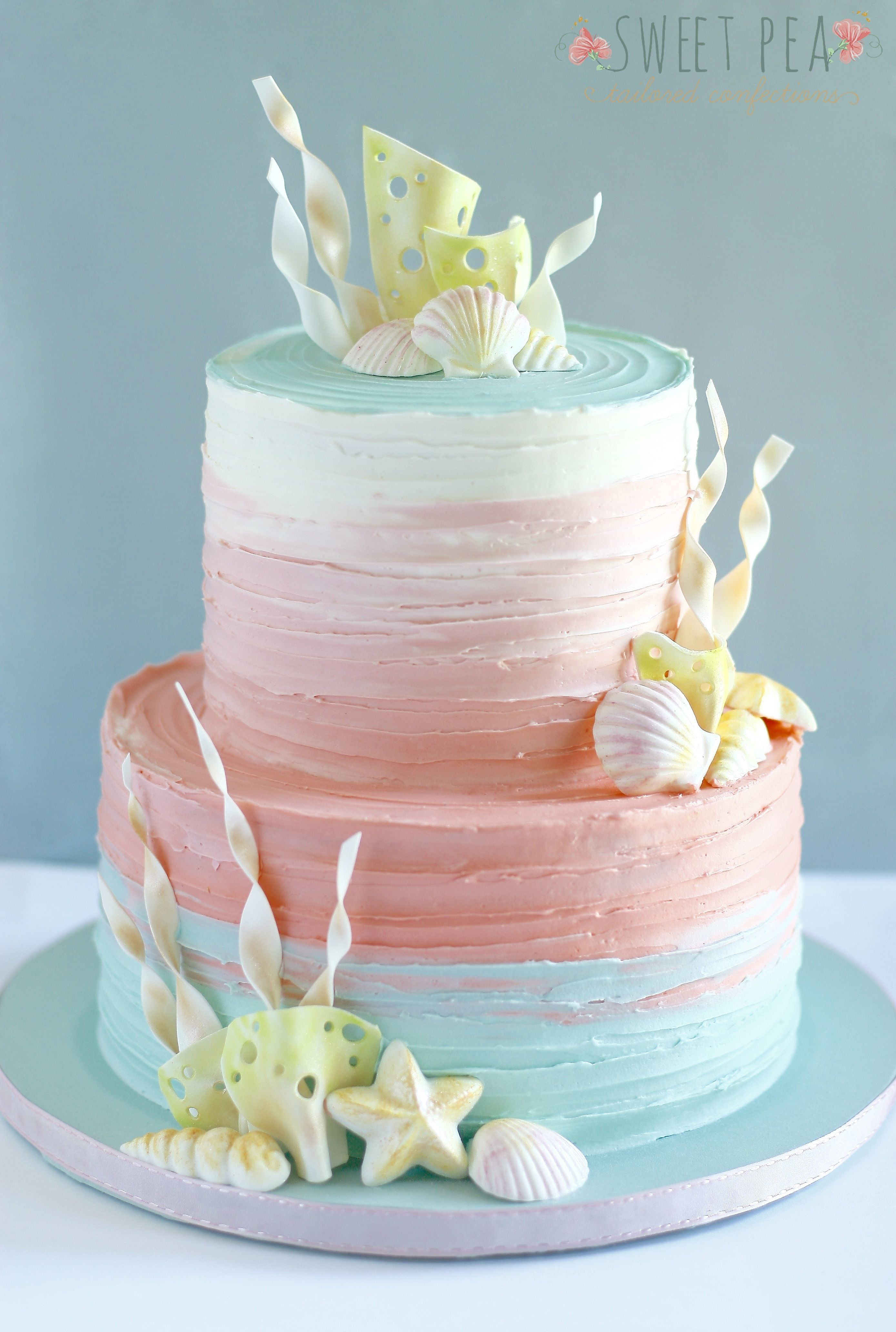 Gorgeous rustic mermaid cake minus all the shells Libbys 1st