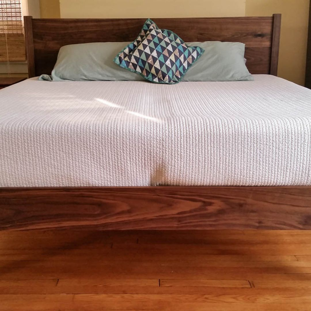 King size solid walnut platform bed frame in its new home