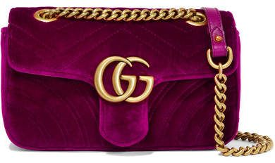 34233592e60 Gucci Gg Marmont Mini Quilted Velvet Shoulder Bag - Magenta