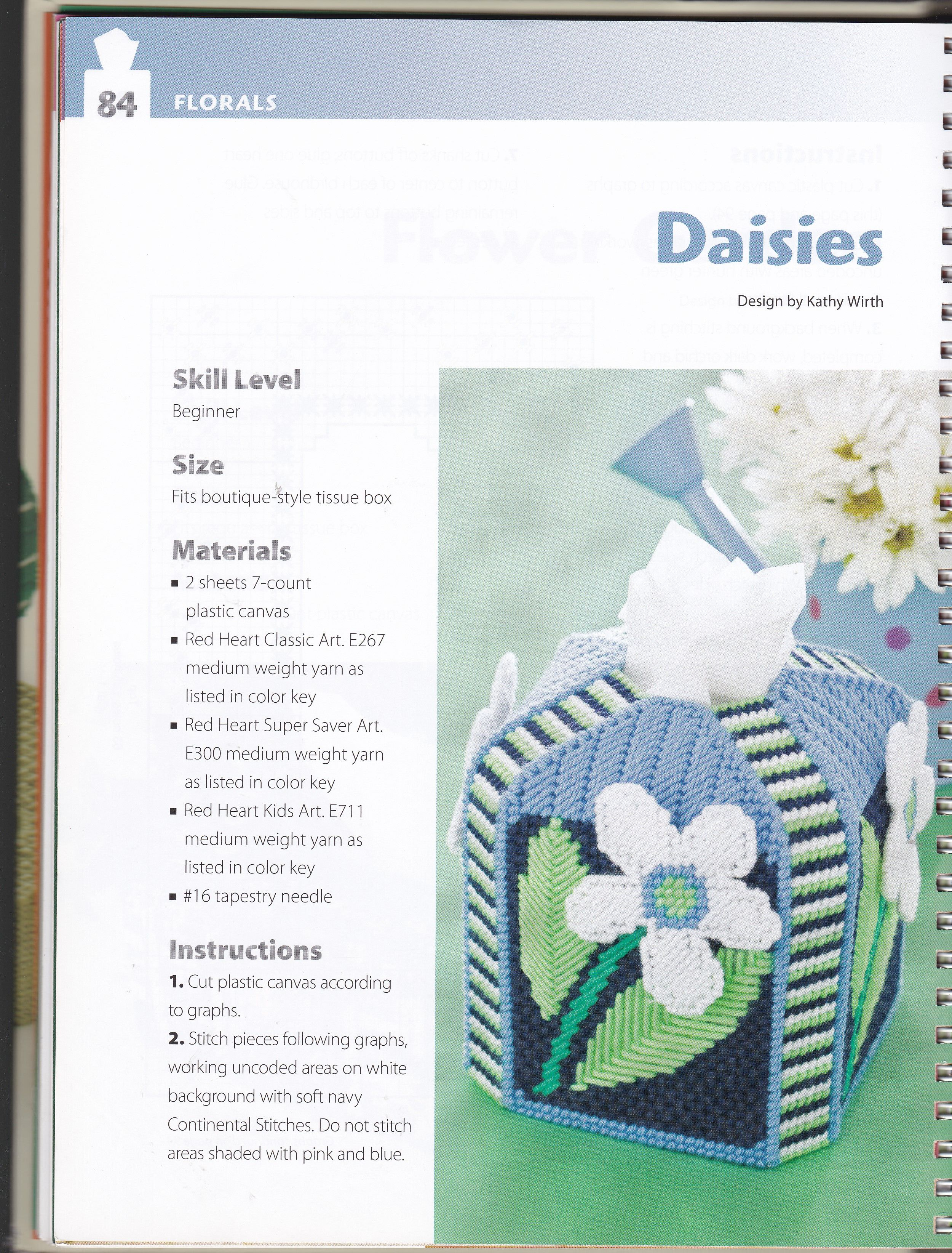in Plastic Canvas s Giant Daisies Tissue Topper Pattern