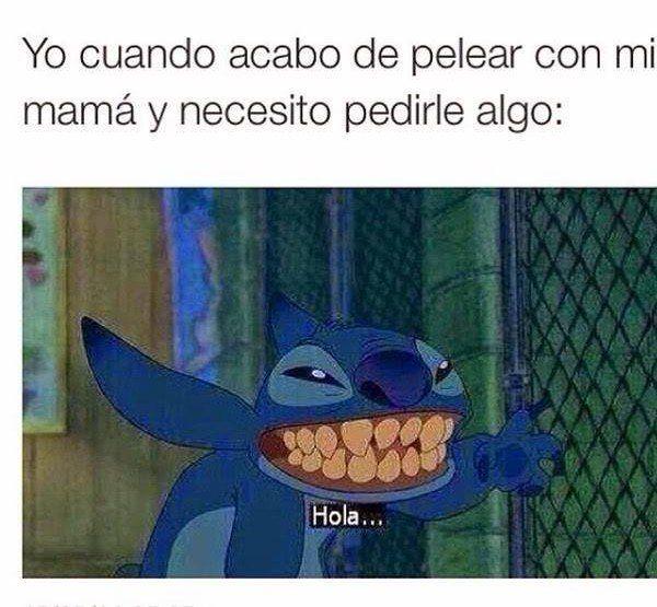 meme de stich de cuando te peleas con tu mamá