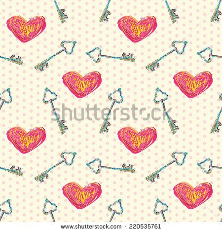 Hearts and keys. Seamless pattern can be used for wallpaper, pattern fills, web page background, surface textures