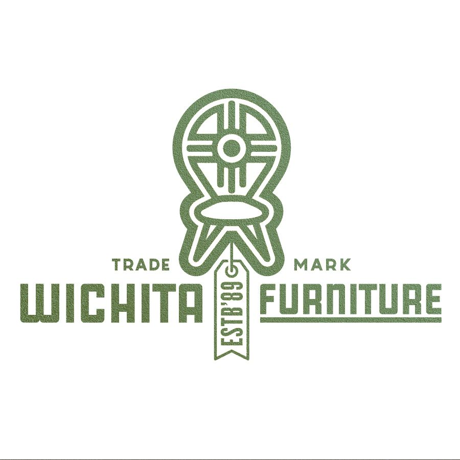 Gardner Design   Wichita Furniture Company Logo Design. A Simplified Chair  With The Wichita Flag Symbol Stands Over The Wordmark With A Price Tag.