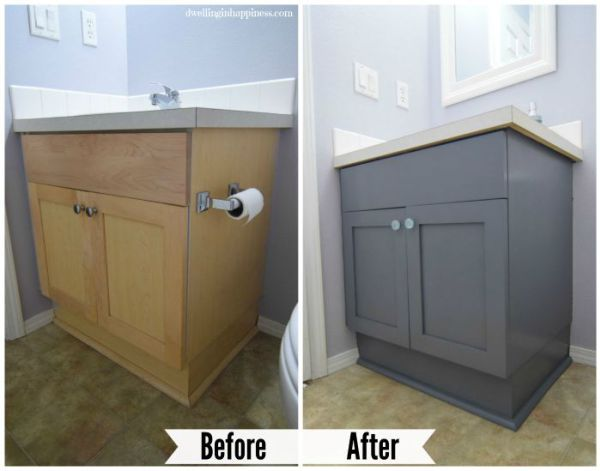 How To Paint Your Bathroom Vanity The Easy Way Painted Vanity Bathroom Painting Bathroom Cabinets Painting Bathroom