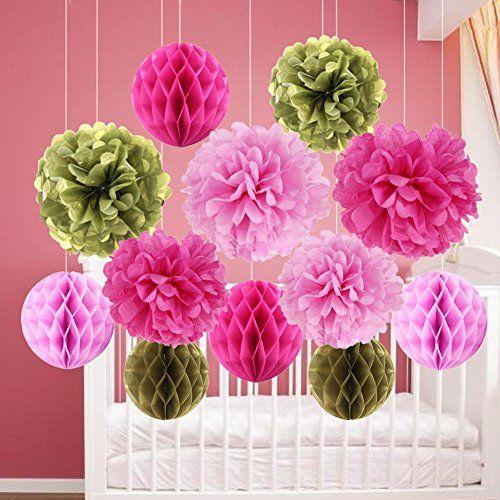 Deko Pompoms 12er wabenbälle pompoms hanging papier dekoration https