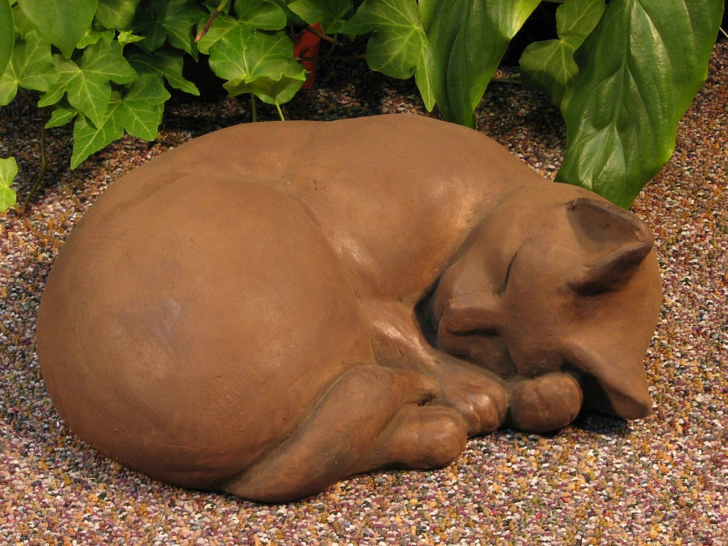 "Amazon.com : CAT Sleeping STATUE 11"" Kitten Sculpture DARK BROWN STAIN Cast CEMENT GARDEN Outdoor Decor : Patio, Lawn & Garden"