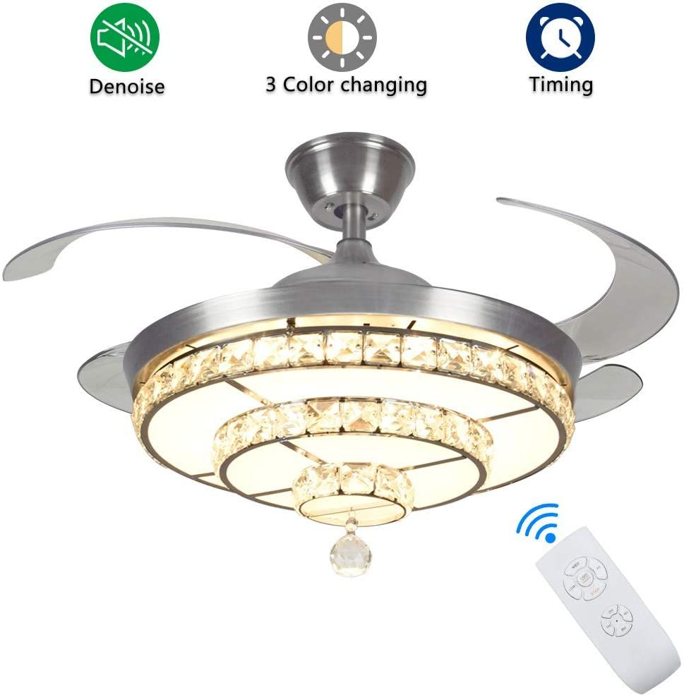 Crystal Ceiling Fan With Light Modern Ceiling Fan Living Room Ceiling Fan Ceiling Fan With Remote