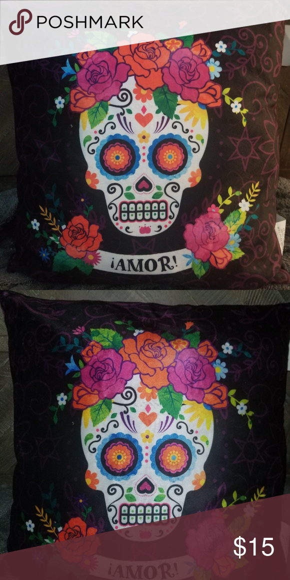 Day of the dead Amor pillow NWT New sugar skull day of the dead pillow no brand Accents Accent Pillows