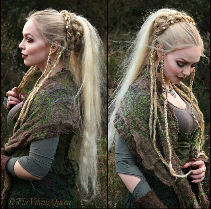 viking braided hairstyle.beautiful