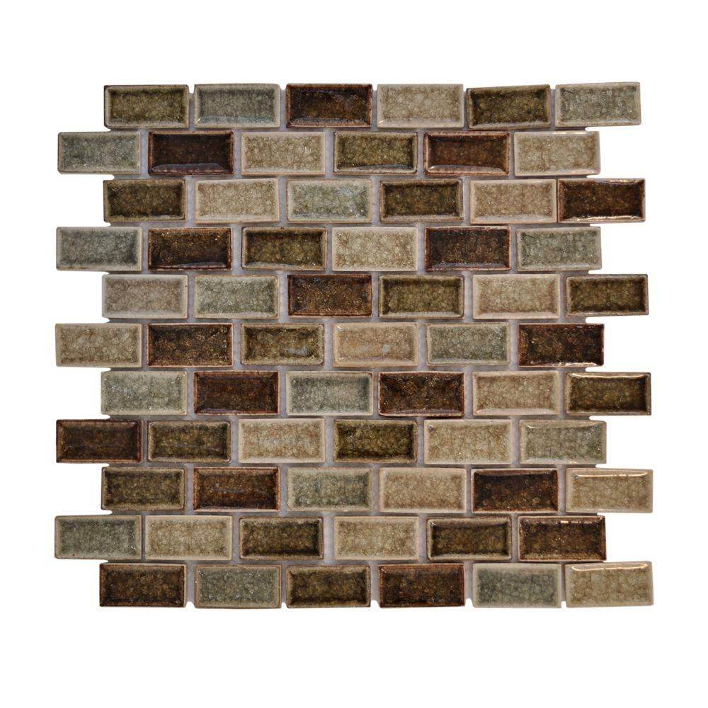 Jeffrey Court 12 in. x 12 in. Mineral Spring Crackle Glass Mosaic ...