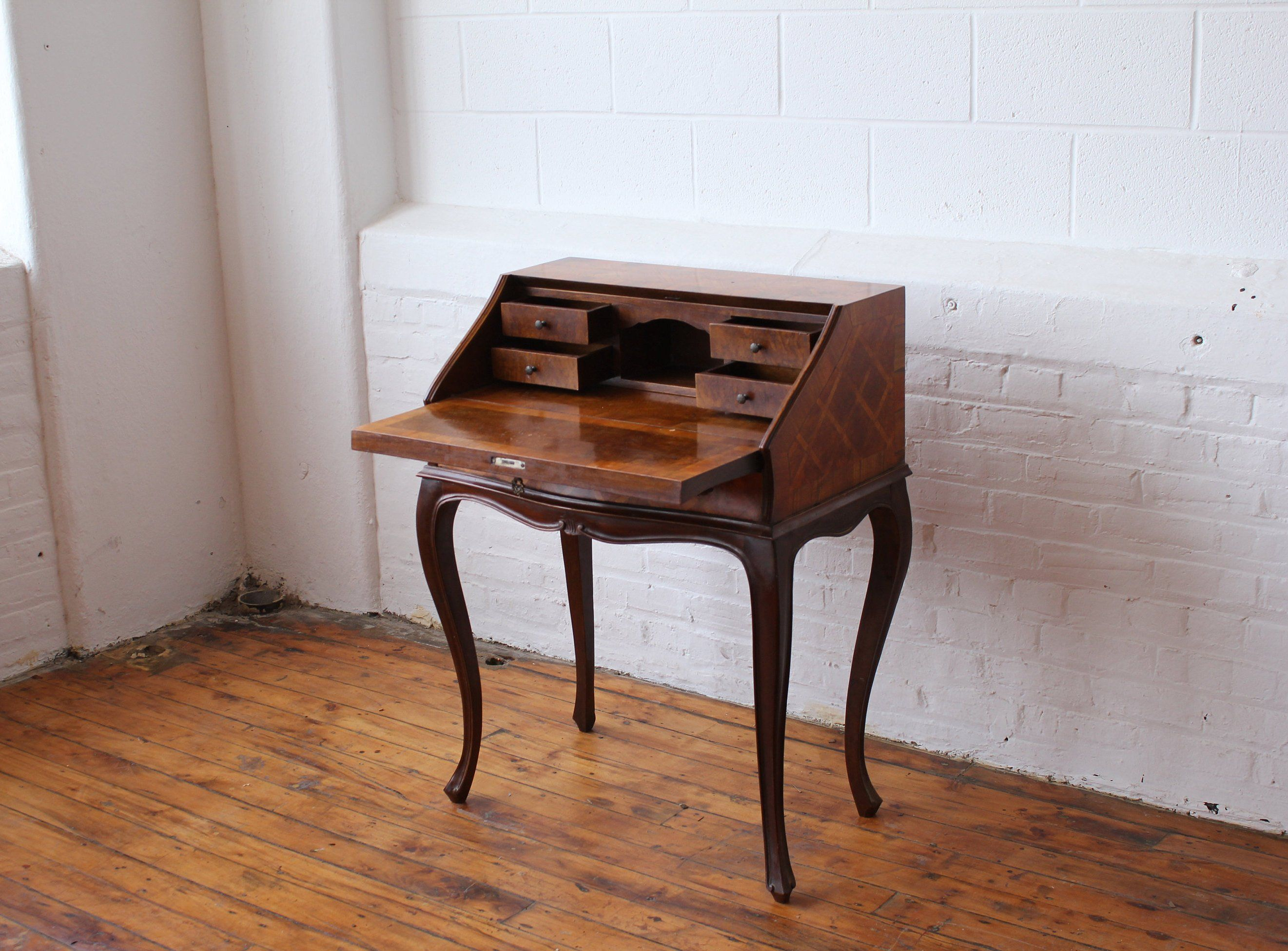 Vintage Italian Marquetry Secretary Desk Etsy