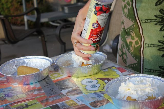 pie eating contest-twinkie with lots of whipped cream or