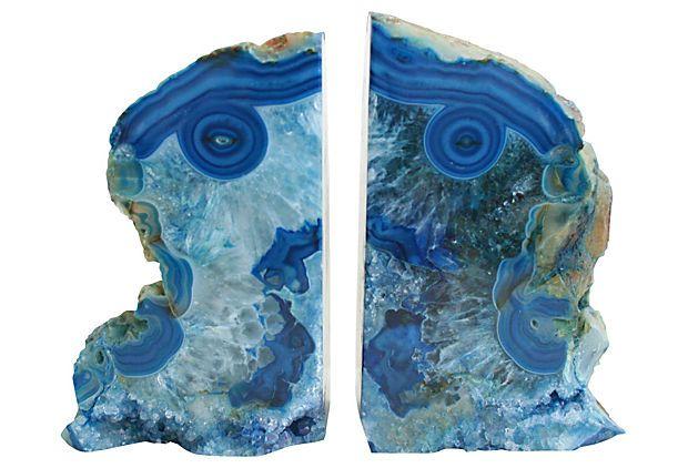 Blue  Agate Bookends on OneKingsLane.com