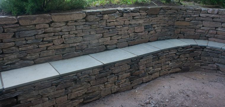 Retaining Wall Seating Dry Stone Walling Garden Design And Landscaping Edinburgh Modern Bathroom Vanity Lighting Wall Seating Small Bathroom Decor
