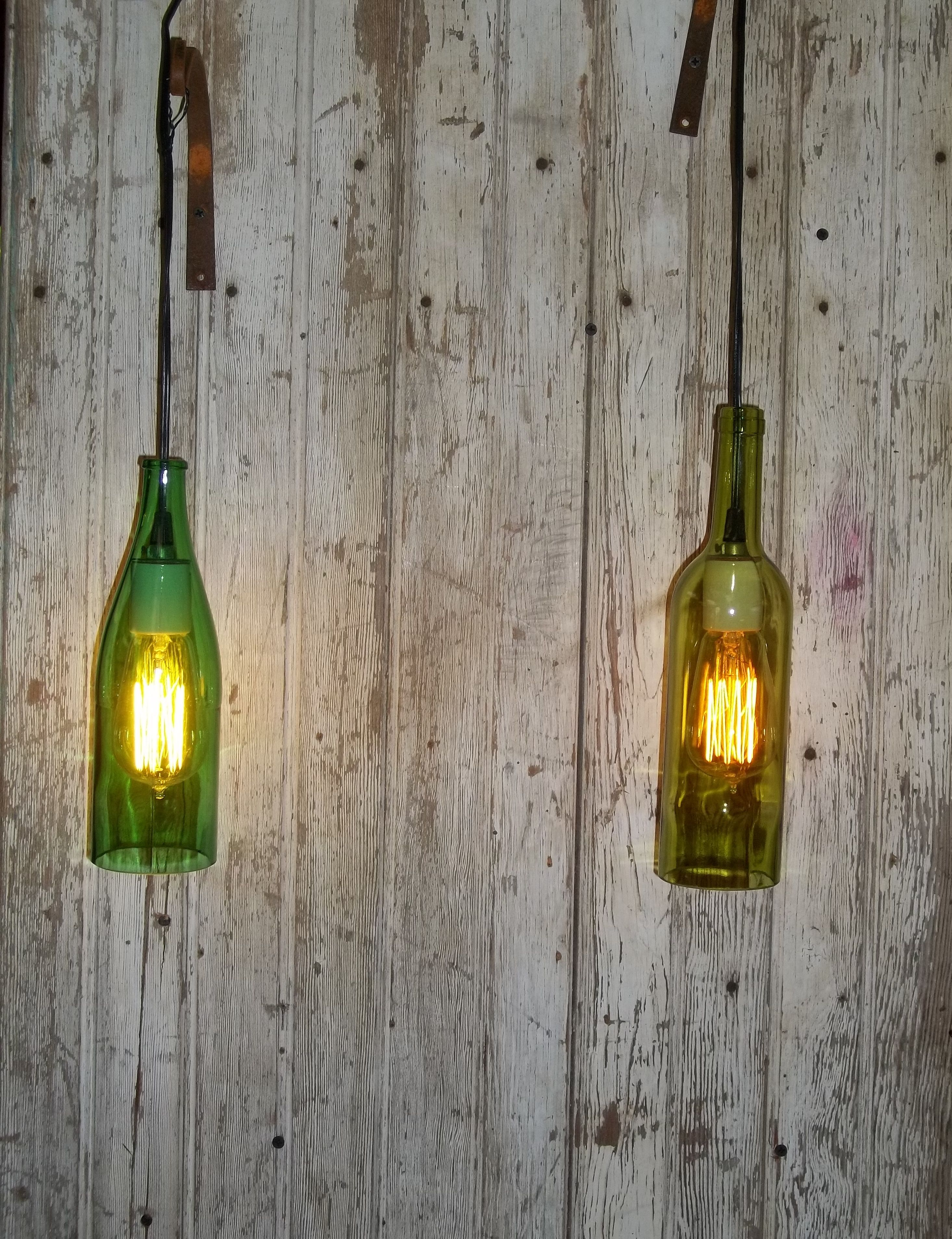 Wine Bottle Light Fixture Wine Bottle Light Fixture With Edison Light Bulb Mostly Just