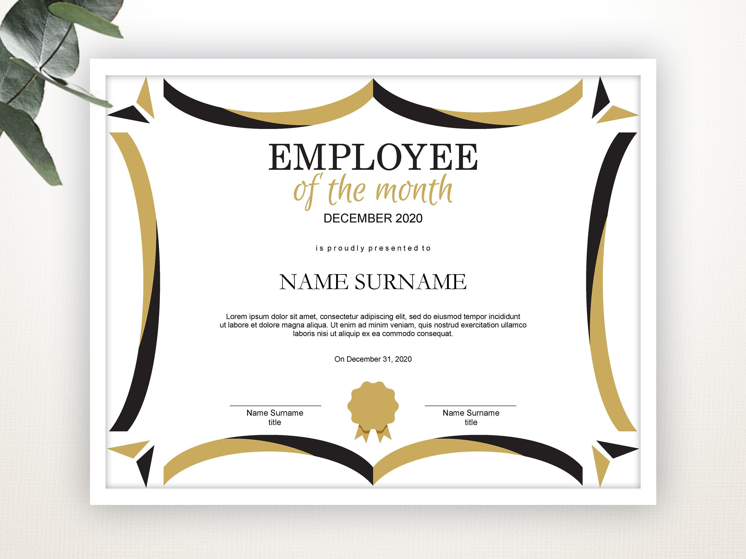 Employee Of The Month Editable Template Editable Award Employee Of The Month Printable Template Pdf Instant Download D106 In 2021 Certificate Templates Award Template Funny Certificates